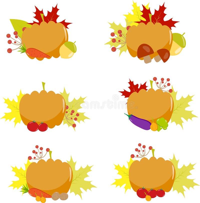 Тыква, комплект года сбора винограда, баклажан, сентябрь бесплатная иллюстрация