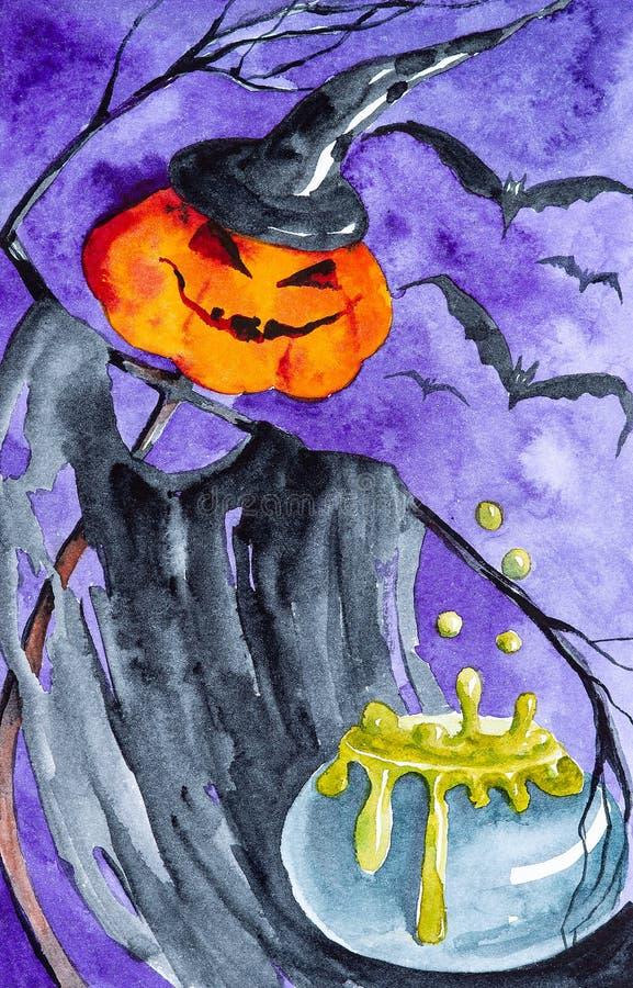 Тыква на хеллоуине заваривает ядовитое зелье На заднем плане, летучие мыши летая E бесплатная иллюстрация