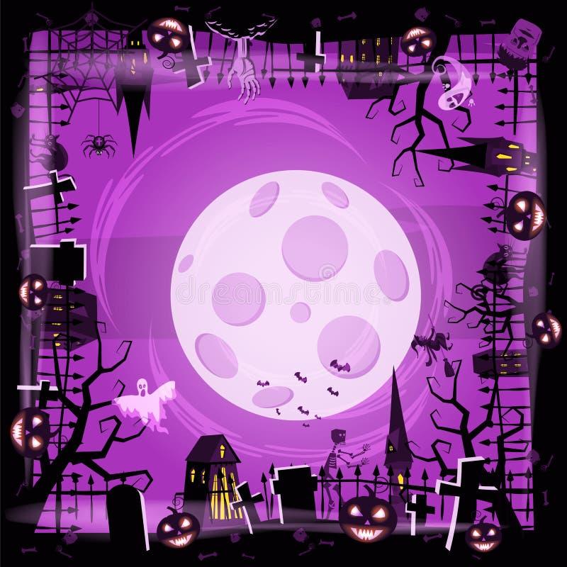 Тыква праздника хеллоуина шаблона, кладбище, черный покинутый замок, атрибуты праздника всех Святых, призрака иллюстрация вектора