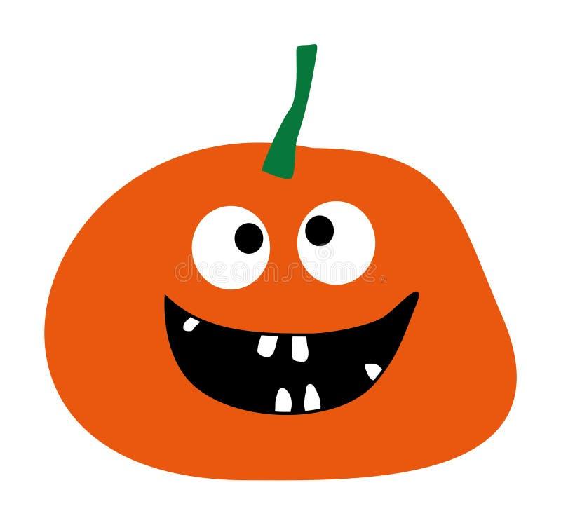 Тыква простой плоской тыквы вектора значка тыквы значка тыквы хеллоуина тыквы дизайна стиля оранжевой усмехаясь на белом bac иллюстрация штока
