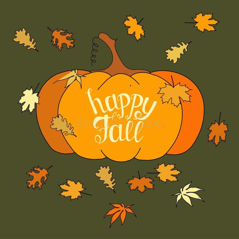 Тыква счастливого знамени оформления литерности падения винтажного оранжевая, листья падения бесплатная иллюстрация