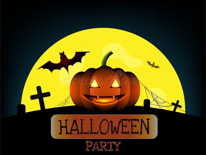 Тыква хеллоуина и летучая мышь ужаса красная на кладбище в полнолунии иллюстрация штока