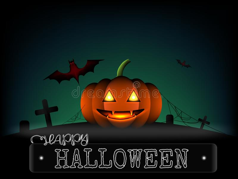 Тыква хеллоуина и летучая мышь ужаса красная на кладбище в темноте b иллюстрация вектора