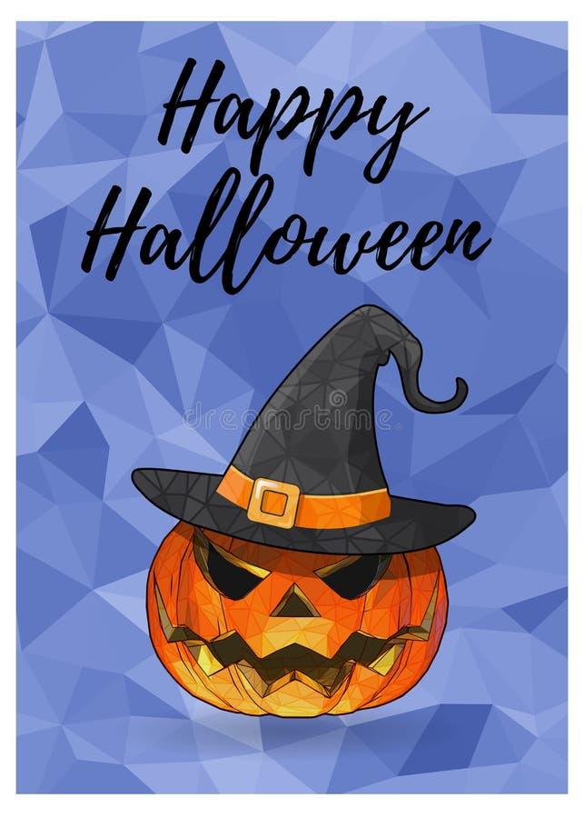 Тыква хеллоуина на голубом полигональном BG иллюстрация вектора