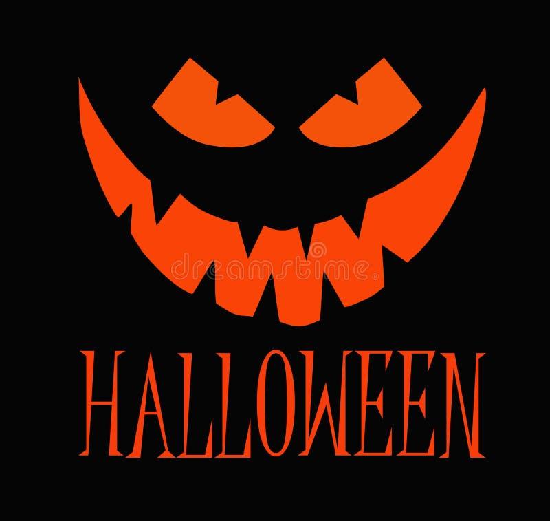 Тыква хеллоуина оранжевая с счастливой стороной на темной предпосылке с текстом иллюстрация мальчика неудовлетворенная шаржем мен стоковые фотографии rf