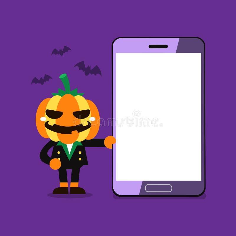 Тыква хеллоуина персонажа из мультфильма с smartphone иллюстрация штока