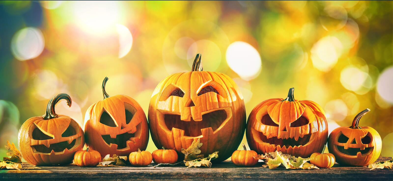 Тыква хеллоуина поднимает фонарики домкратом o стоковое изображение