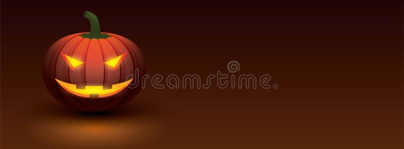 Тыква хеллоуина при свет накаляя в усмехаясь стороне на темном bac иллюстрация штока