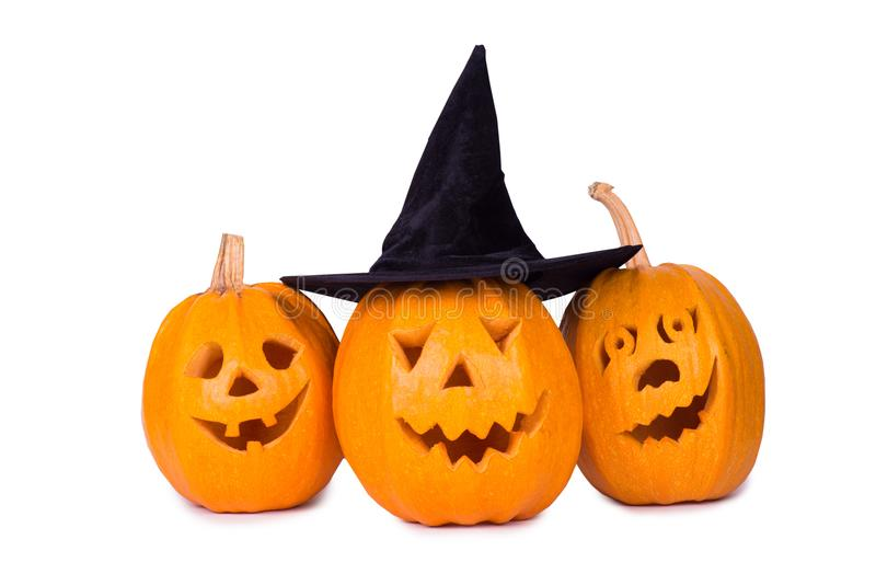 Тыква хеллоуина, смешная сторона 3 изолированная на белой предпосылке стоковые фотографии rf