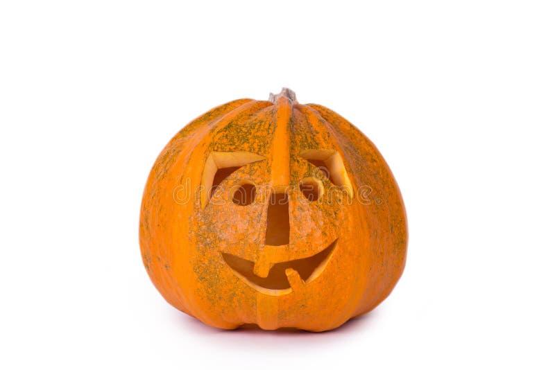 Тыква хеллоуина, смешная сторона изолированная на белой предпосылке стоковые изображения rf