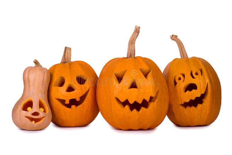 Тыква хеллоуина, 5 смешных сторон, на белой предпосылке стоковые фото
