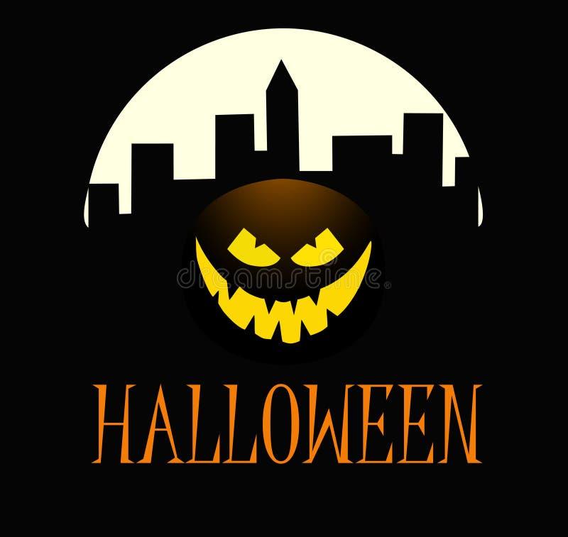 Тыква хеллоуина с счастливой стороной на темной предпосылке с городком иллюстрация мальчика неудовлетворенная шаржем меньший вект стоковые изображения rf