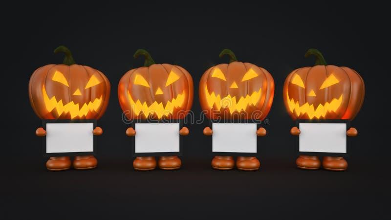 Тыква хеллоуин 3d хеллоуина иллюстрация вектора