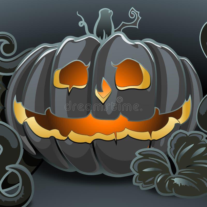 Тыква хеллоуина вектора шаржа с светом свечи внутрь на темной предпосылке, страшном фонарике Джека o бесплатная иллюстрация