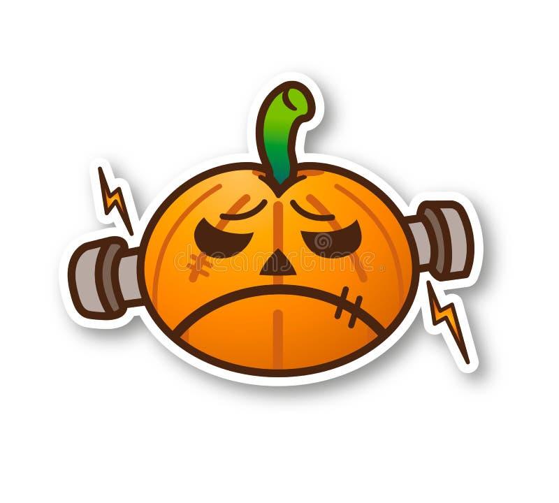Тыква хеллоуина - милое Frankenstein иллюстрация штока