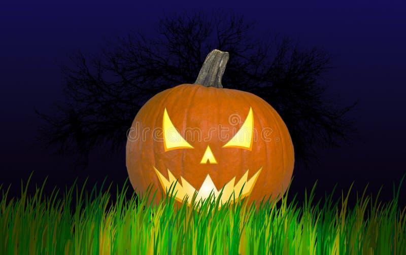 Тыква хеллоуина с сердитым взглядом стоковые изображения