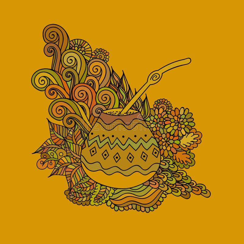 Тыква чая ответной части Yerba иллюстрация вектора