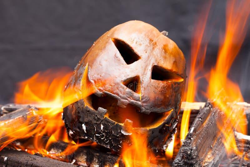 Тыква Halloween в пожаре стоковые фотографии rf