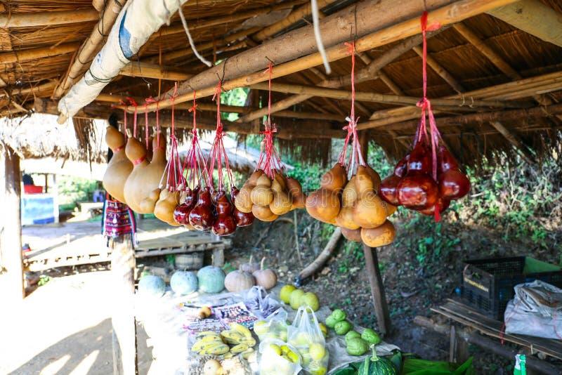 Тыквы бутылки продавая на местном vegetable магазине на горе Mae Sa длинной в Chiang Rai, Таиланде стоковые фотографии rf