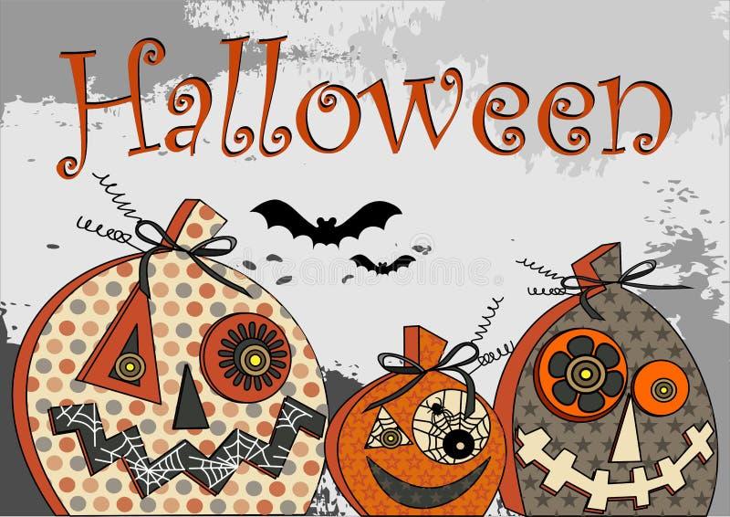 Тыквы партии хеллоуина стилизованные праздничные на предпосылке grunge в серых и черных надписи tonahs и силуэтах летучих мышей иллюстрация вектора