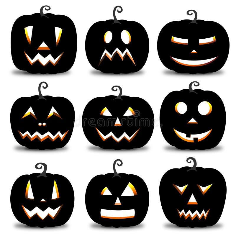 Тыквы хеллоуина - установите 9 сторон иллюстрация штока