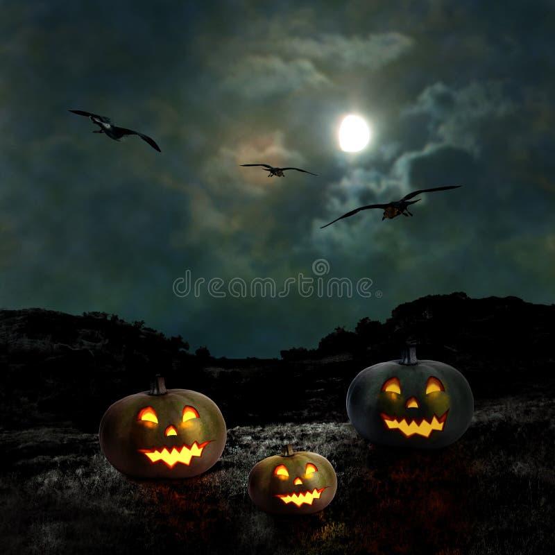 Download Тыквы хеллоуина в дворе старого дома на ноче Иллюстрация штока - иллюстрации насчитывающей шарж, привидение: 33739075