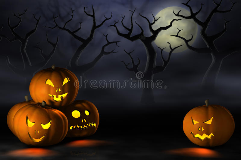 Тыквы хеллоуина в пугающем лесе на ноче иллюстрация вектора