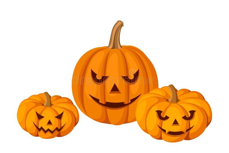 3 тыквы хеллоуина (Джек-O-фонарики). иллюстрация вектора