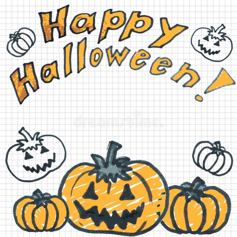 Тыквы хеллоуина Doodle иллюстрация вектора
