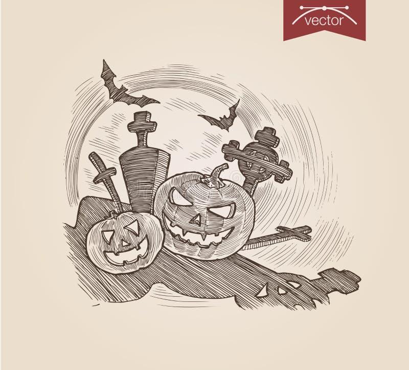 Тыквы хеллоуина handdrawn на погосте бить шаблон гравировки иллюстрация штока