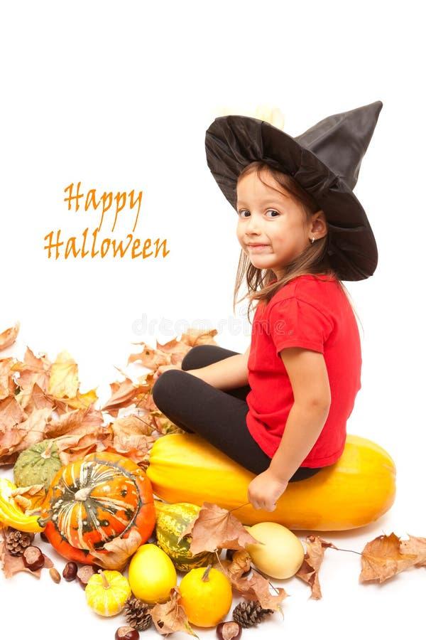 тыквы halloween девушки стоковые изображения rf