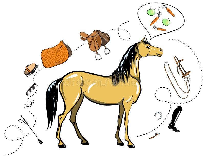 Тэкс лошади и верховой езды Взнуздайте, оседлайте, стремя, щетка, бит, проводка, поставки, взбейте equine оборудования проводки иллюстрация вектора