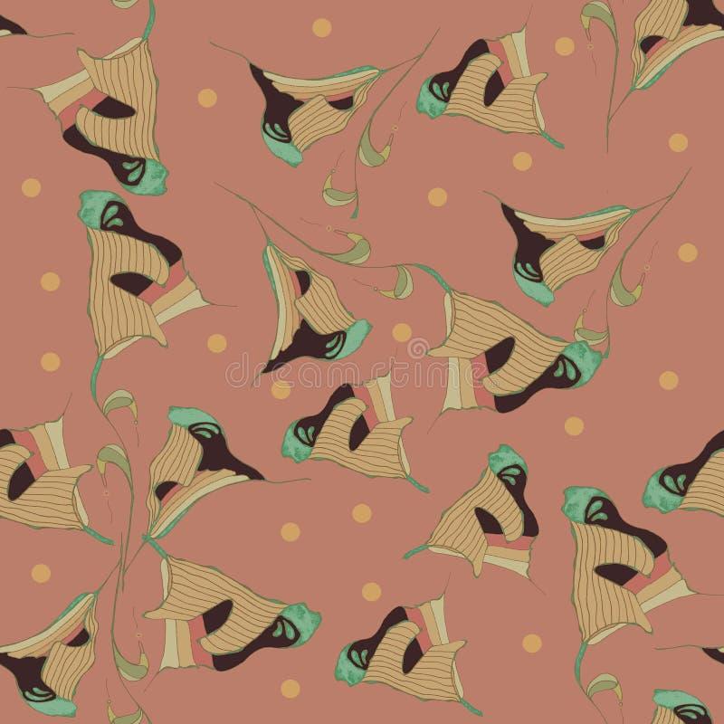 Тюльпаны вектора японские, безшовная картина, паллет пастельных цветов в русой, бежевой, черной, зеленой, простой русой предпосыл бесплатная иллюстрация
