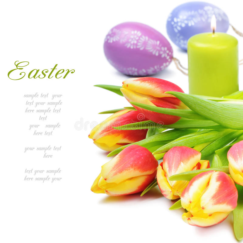 тюльпаны весны пасхи установленные стоковое фото rf