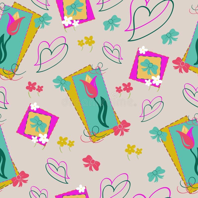 Тюльпаны и картина сердец безшовная с первоцветами и смычками Флористическая предпосылка в бледных нежных цветах, плоский стиль в иллюстрация вектора