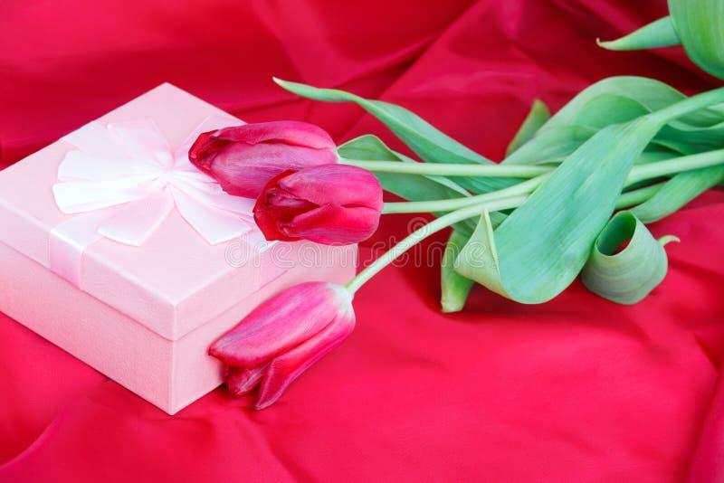 Тюльпаны и подарок на красной предпосылке стоковые фотографии rf