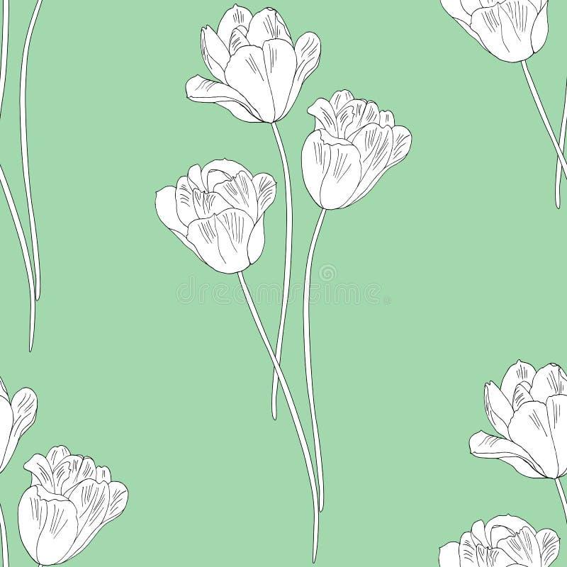 тюльпаны картины безшовные Нарисованная рукой иллюстрация вектора Линия искусство Изолировано на зеленой предпосылке иллюстрация вектора