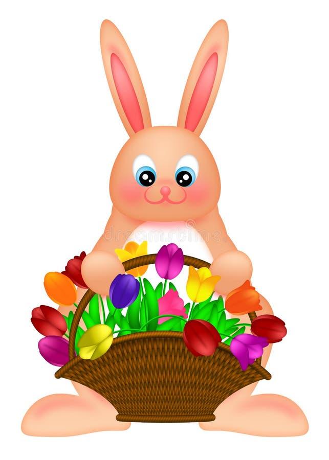 тюльпаны кролика пасхи зайчика корзины цветастые счастливые бесплатная иллюстрация