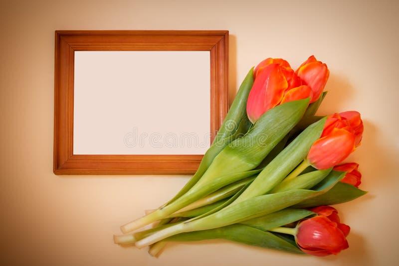 Тюльпаны с пустой картинной рамкой на бежевой предпосылке стоковые фото