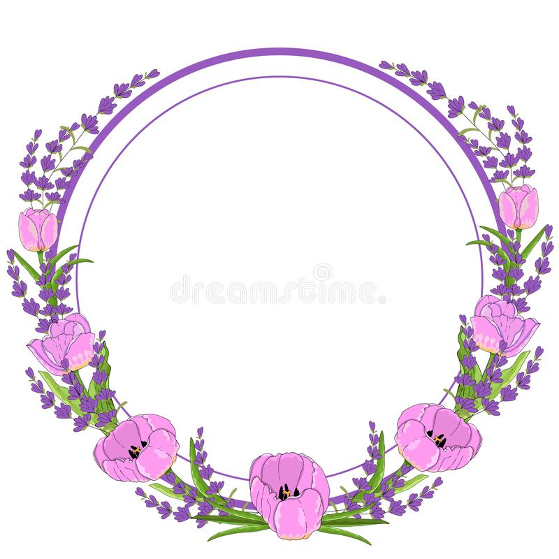 Gift wreath lavender and tulip. Celebrate holiday. Vector hand draw  Illustration EPS10 stock illustration