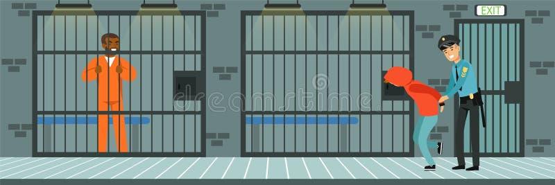 Тюремная камера с пленниками, полицейский на работе, иллюстрации вектора Управления полиции внутренней в плоском стиле иллюстрация вектора