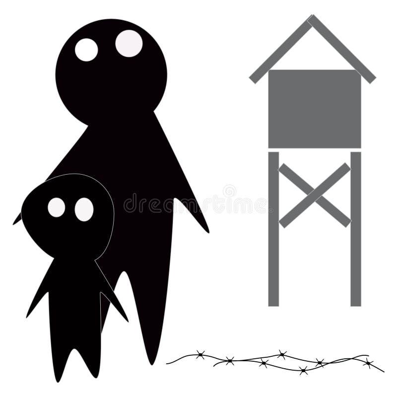 тюрьма или концентрационный лагерь бесплатная иллюстрация