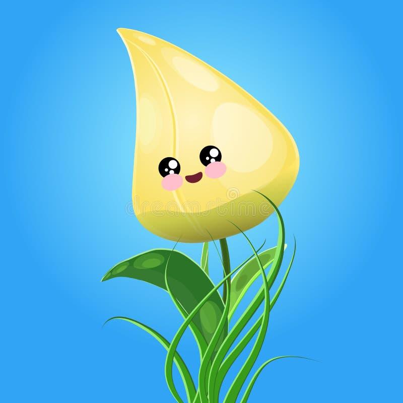 Тюльпан желтого цвета Kawaii бесплатная иллюстрация