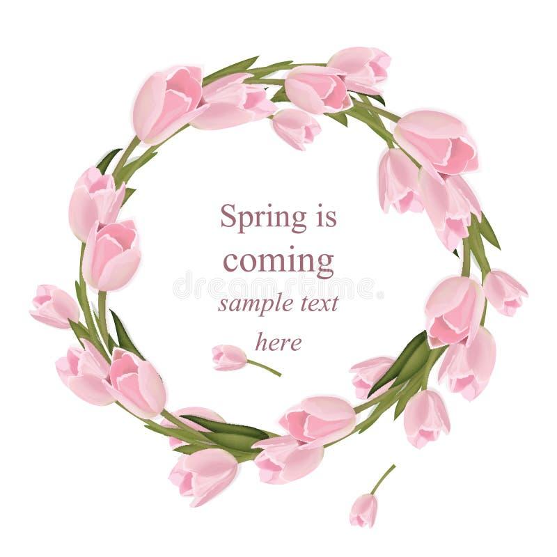 Тюльпан цветет поздравительная открытка венка Весна приходя иллюстрация вектора оформления акварели реалистическая бесплатная иллюстрация