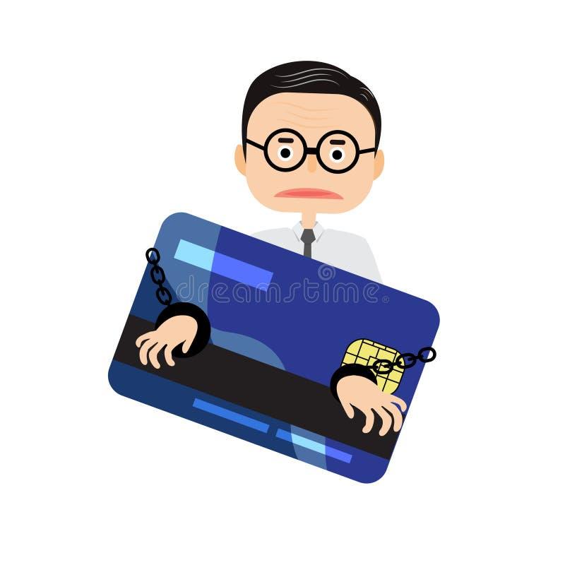 Тягота бизнесмена иллюстратора с кредитной карточкой иллюстрация штока