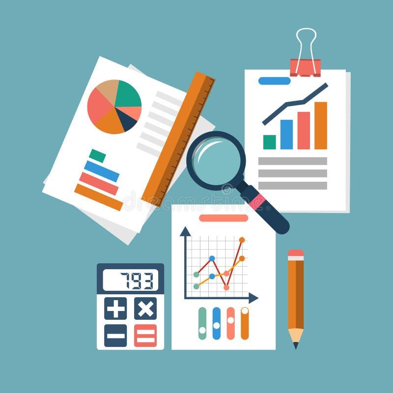тягла финансового отчета принципиальной схемы вычислений бухгалтерии процесс организации, аналитик иллюстрация штока