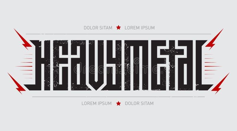 Тяжелый метал - зверский шрифт для ярлыков, заголовков, плакатов музыки или печати футболки Горизонтальный ярлык иллюстрация штока