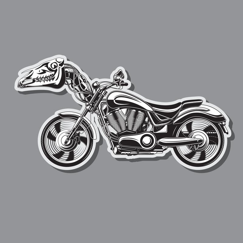 Тяжелый мотоцикл с механическим черепом лошади r иллюстрация вектора