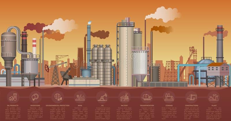 Тяжелый промышленный ландшафт зданий фабрики Иллюстрация вектора с infographic элементами значков Куря трубы  иллюстрация штока