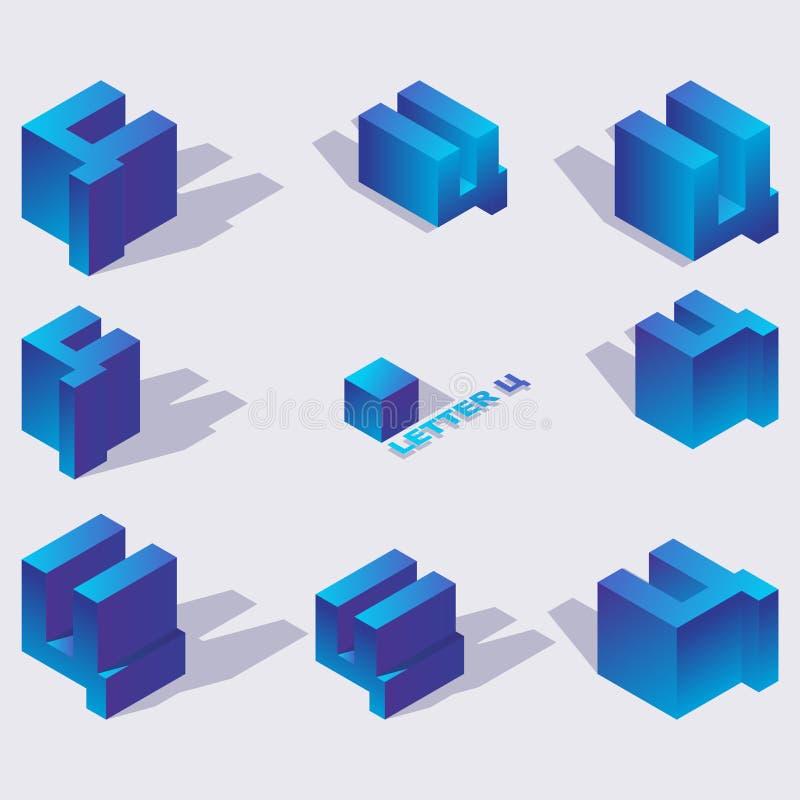 Тяжелый славянский tse писем в равновеликих взглядах 3d Яркие голубые градиенты, тени, изолированные на собрании предпосылки для  бесплатная иллюстрация